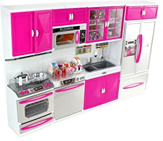 AMPERSAND SHOPS Battery Operated Modern Doll-Sized Kitchen Playset 32 Full Deluxe Kit: Refrigerator, Stove, Sink, Microwave 21