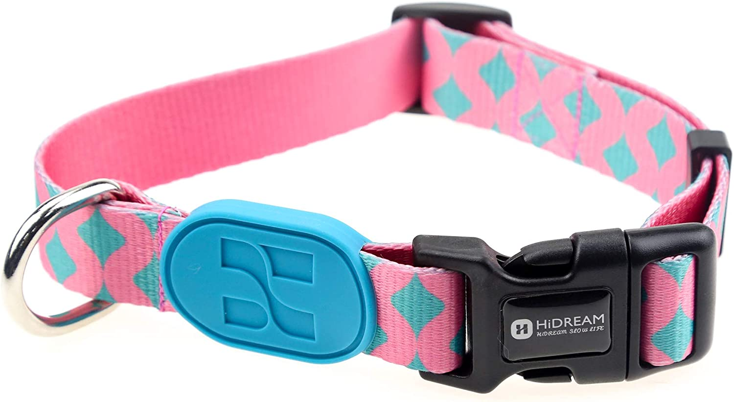 HiDREAM Profusion Series Dog Collars (Bobby, L) Pink Dog Collars Large Girl Dogs. Adjustable Heavy Duty Nylon Dog Collars