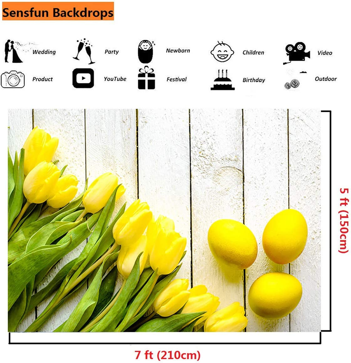 Sensfun 7x5ft Easter Eggs Photography Backdrops Spring Gold Tulips Yellow Eggs on White Wood Plank Photo Background for Baby Newborn Photobooth Banner Kids Adult Portraits Photo Studio Props WP091