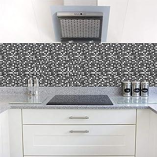 Set De 10 Pcs Stickers Carrelage 3D Adhésif Mural Cuisine Noir Mosaïque  Carrelage Mural 15x15/