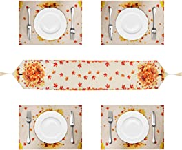 Autumn Leaves Table Runner with 4 Placemats, Cotton and Linen Orange Table Runners Set for Thanksgiving Day, Autumn, Fall,...