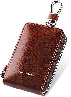 Mens Wallet Genuine Leather Key Chain Wallets Zipper Car Key Case Holder Wallet WILLIAMPOLO