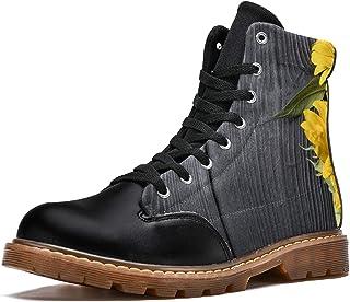 LORVIES Beau Tournesol sur la Texture en Bois Gris foncé Bottes d'hiver Chaussures Montantes en Toile à Lacets pour Hommes