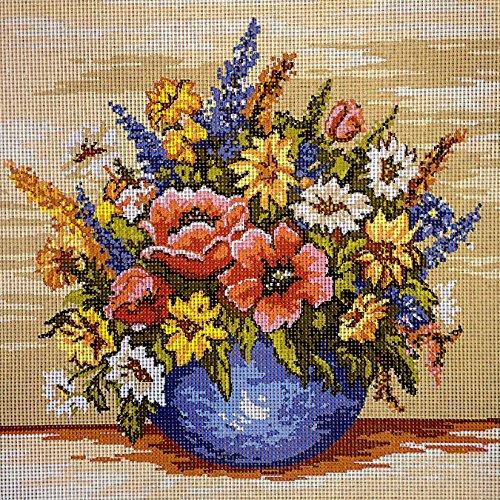 Hudemas Gobelin Stickbild Stickpackung Landblumen halber Kreuzstich 25x25cm. inkl. Sticktwist cod.088