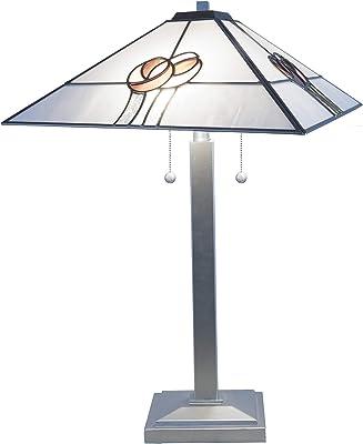 Dale Tiffany Lamps STT16215 Mack Rose Tiffany Triangular Table Lamp, Silver