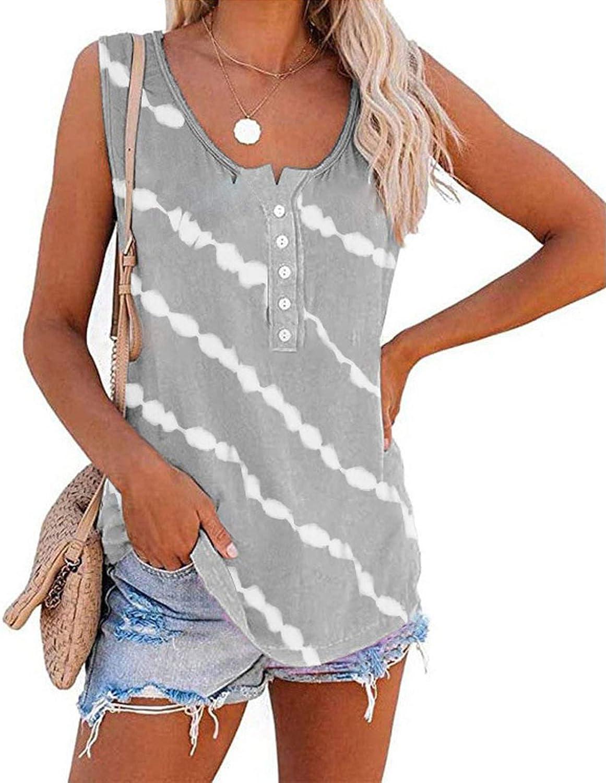 POLLYANNA KEONG Women Tank Tops, Womens Cute Printed Vest Sleeveless Workout Blouse Casual Summer Tank Top Tunic Tee