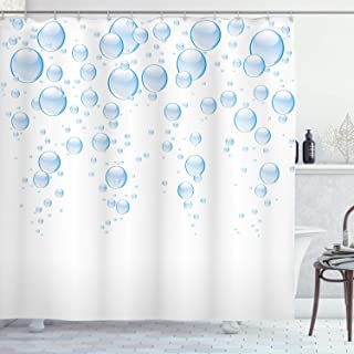 Ambesonne Abstract Shower Curtain by, Rain Water Drops Bubbles Liquid Purity Symbol Crystal Circles Artful Picture, Fabric Bathroom Decor Set with Hooks, 75 Inches Long, Light Blue White