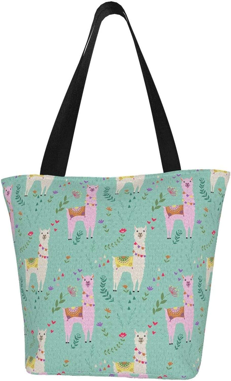 Llama Green Flowers Themed Printed Women Canvas Handbag Zipper Shoulder Bag Work Booksbag Tote Purse Leisure Hobo Bag For Shopping