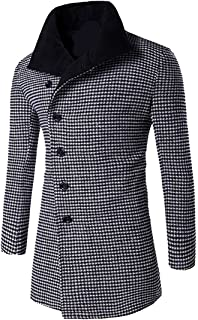 Beautifullight Handsome Men's Classic Houndstooth Contrast Wool Pea Coat Outerwear