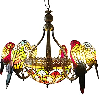 FUMAT Parrot Tiffany Chandeliers 6 Heads Stained Glass LED E26 Ceiling Fixtures 110V Pendant Lamp