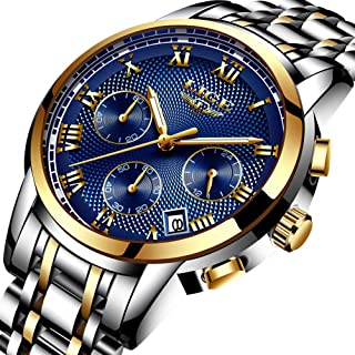 Watches Mens Waterproof Stainless Steel Watch Men Sport Analogue Quartz Wristwatch LIGE Luxury Brand Fashion Business Watches Men Gold Blue