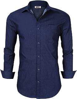 KUULEE Men's Button Down Shirts Long Sleeve Denim Work Shirt Slim Fit Dress Shirts for Men