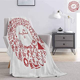 Luoiaax Christmas Soft Throw Blanket for Bed Couch Vintage Merry Xmas Wreath with Several Noel Yule Icons and Ribbons Candles Bells Image Soft Warm Plush Blanket W40 x L60 Inch Red