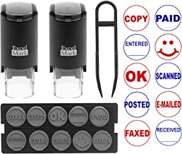 ExcelMark A17 DIY Self-Inking Rubber Office Stamp Kit – Ten Designs – Red and Blue Ink