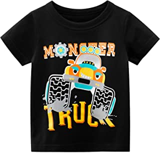 KANCOOL Toddler Boys T-Shirt Short Sleeve Tee for Baby Daily Tops Crewneck 100% Cotton [Black Monstertruck, 6-8Y, L-19.7 in]