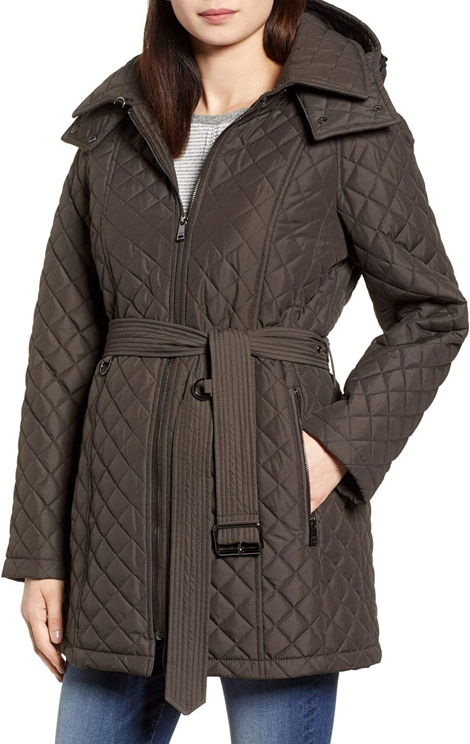 London Fog Women's Diamond Quilted Hooded Jacket