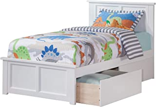 Atlantic Furniture Madison Platform Bed with Matching Foot Board and 2 Urban Bed Drawers, Twin XL, White
