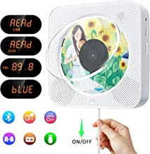 Portable CD/DVD Player with Bluetooth,Wall Mountable CD DVD Player HDMI Built-in HiFi Speaker with Remote Control,Music CD Player,FM Radio,USB Playing for Home (White)