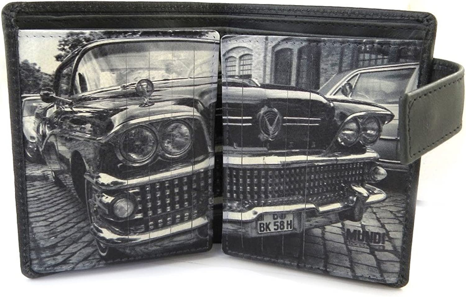 Mundi [N4903]  Leather wallet 'Mundi' black white vintage (22 cards) 11.3x9 cm (4.45''x3.54'').