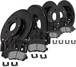 CCK01783 FRONT + REAR Powder Coated Black [4] Calipers + [4] Black D/S Rotors + Low Dust [8] Ceramic Pads