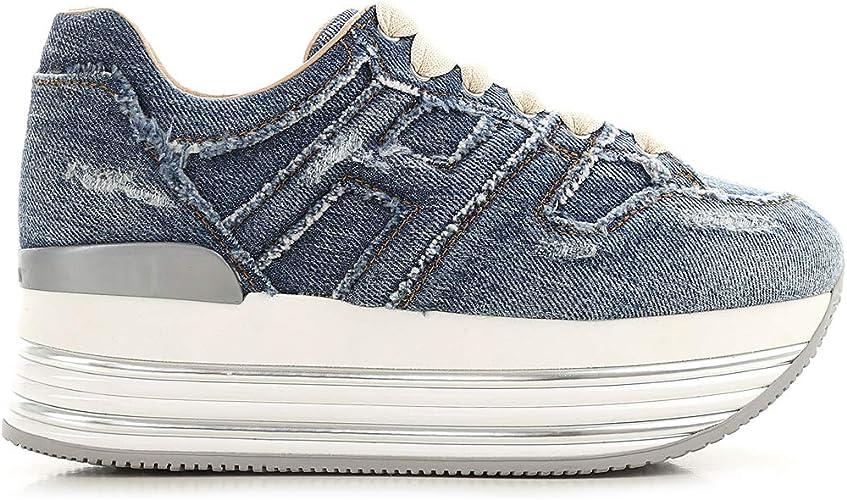 Hogan Scarpe Donna Maxi H222 Sneaker in Pelle e Denim - Tg. 39 EU ...