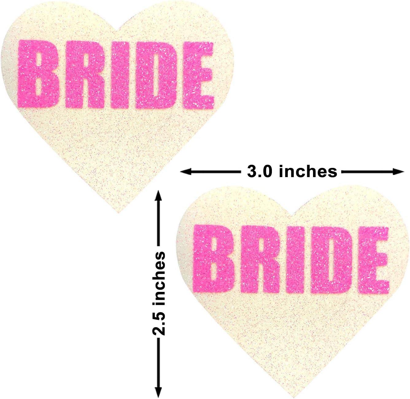 Neva Nude Bride NEON UV Pink White Glitter I Heart U Nipztix Pasties Nipple Cover