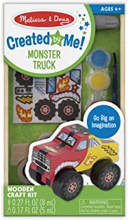 Melissa & Doug Created by Me! Monster Truck Wooden Craft Kit - The Original (27 Stickers, Paint & Glue, Great Gift for Girls and Boys – Best for 4, 5, 6, 7 and 8 Year Olds)