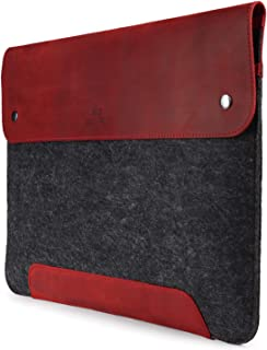 MegaGear Genuine Leather and Fleece MacBook Bag 13.3 Inch (Red)