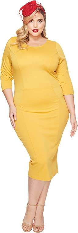 Unique Vintage - Plus Size Three Quarter Sleeve Mod Dress