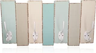 Beachy Wood Wall Rack-4 Double Metal Hooks-Distressed Beach Decor Finish 16 inch x 8 inch by Tumbler Home