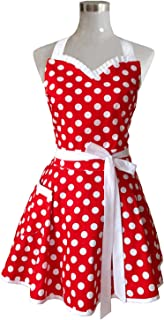 Hyzrz Lovely Sweetheart Retro Kitchen Aprons Woman Girl Cotton Polka Dot Cooking Salon Pinafore Vintage Apron Dress Mother�s Gift (Red)