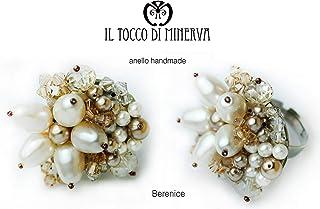 Anello color tortora perle swarovski Berenice - Realizzati a Mano - Made in Italy-HandaMade-Regali ragazza-Artigianale-ide...