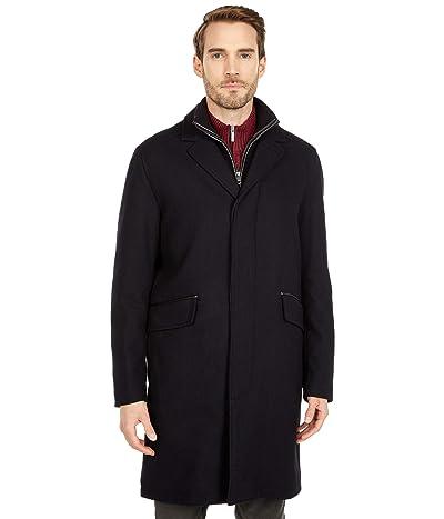 Cole Haan 39 Wool Twill Long Classic Topper Coat (Black) Men