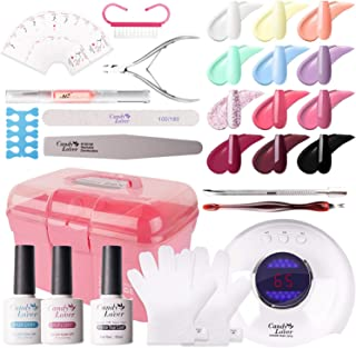 Candy Lover Gel Polish Starter Kit 15 Bottles, 10ml Nail Macaroon Colors with Base Top Coat Matte Top Coat 24W UV/LED Lamp Gel Nail Polish Set - Spring Summer Nail Art Accessories Home Manicure Tools