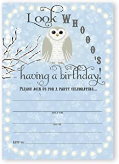 POP parties Snowy Owl Birthday Party Invitations - Blue - 10 Invitations 10 Envelopes