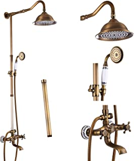 Antique Brass Shower Faucet Set Double Cross Handle Shower System With 8 Inch Top Rainfall Shower Head with 12 Inch Extension Tube and Handheld Spray Mixer Bathtub Tap Wall Mount