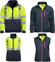 JORESTECH Safety 4-in-1 Windbreaker Reversible Gray Fitted Jacket Reflective High Visibility with Removable Sleeves & Pink Lining Yellow/Lime ANSI/ISEA Type R Class 3 JK-05 (S)