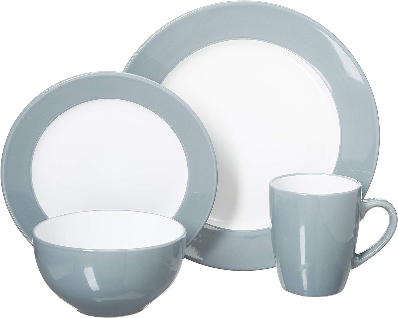 Uniware 16 Pcs Dinner Set (4 Big Plates 4 Small Plates  4 Cups  4 Bowls) bluee-grey [D350-16b]