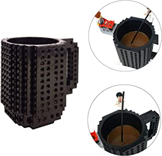 OSOPOLA Build-On Brick Mug Coffee Cup DIY Type Plastic Creative Building Blocks Coffee Tea Beverage Drinking Funny Gift(12oz Black Mug)