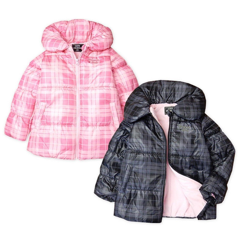 子供服 女の子 アウター フルジップ ジャケット 中綿 裏フリース チェック柄 シャーリング ロゴ刺繍 女児 キッズ
