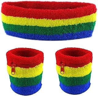 Funny Guy Mugs Unisex Sweatband Set (3-Pack: 2 Wristbands with Zipper/Wrist Wallet & 1 Headband)