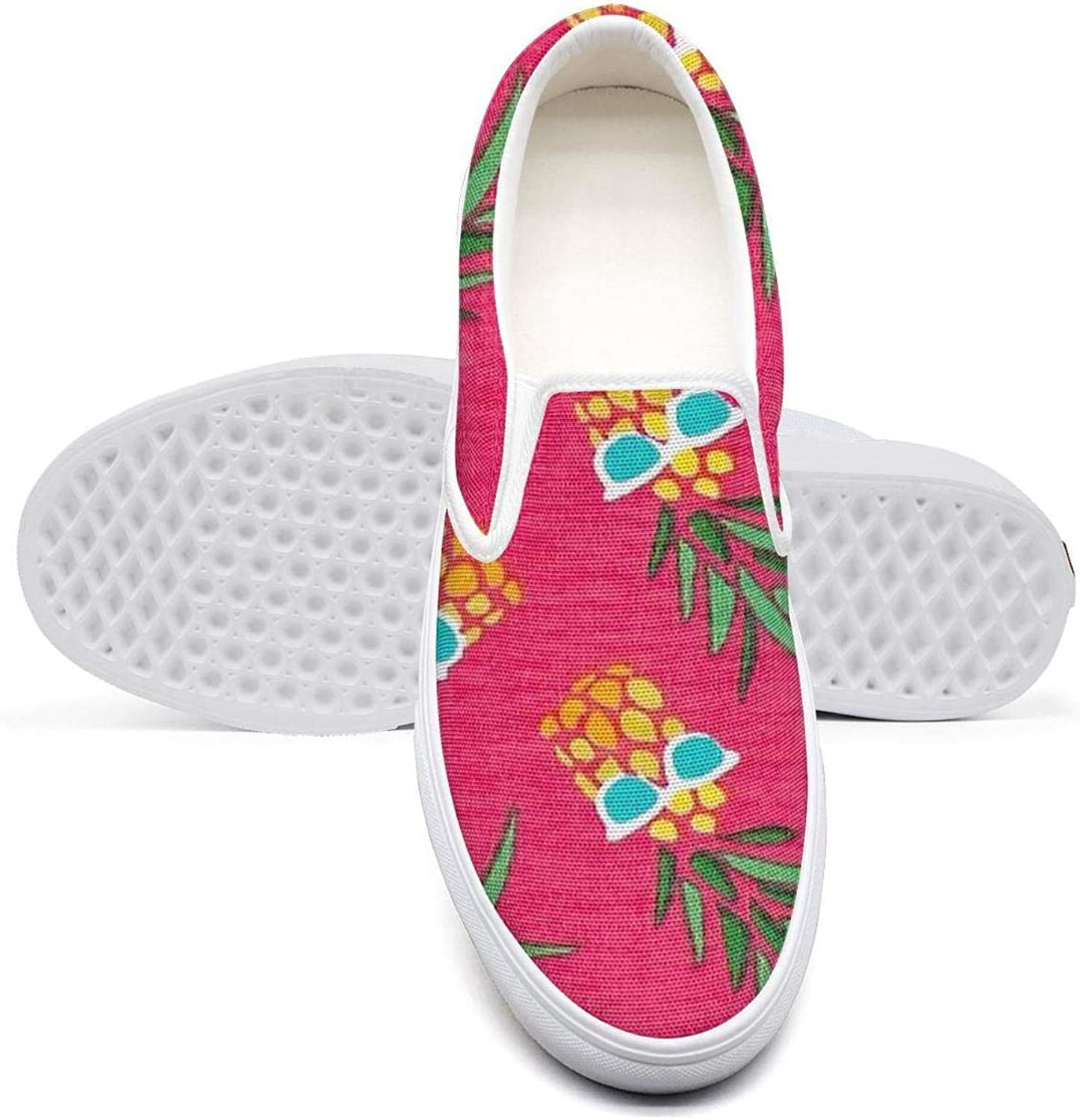 Eredfs Pineapples with Glasses Pink Women Low Cut Non-Slip wear-Resistant Rubber Sole Footwear