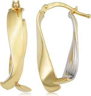 KoolJewelry 14k Two-Tone Yellow and White Gold Bypass Oval Hoop Earrings (10.5x25 mm)
