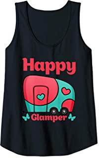 Womens Happy Glamper Camping Lover Girl Camper Camp Vacation Shirt Tank Top
