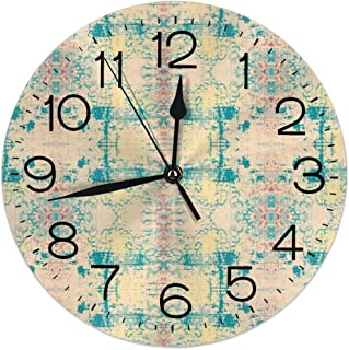 D87fhxc-g4 9.8 Inch Universal Round Wall Clock Teal Bombay Sunday Morning Raga Silent Non Ticking Decorative Wall Easy Read Clock Battery Operated is Designed to Fit Anywhere in Your Home