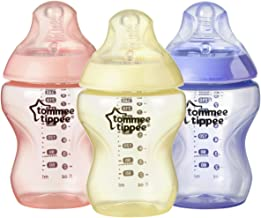 Tommee Tippee Closer to Nature Colour My World Baby Bottle, Anti-Colic, Breast-like Nipple - Girl, 9 Ounce (3 Count) (522545)