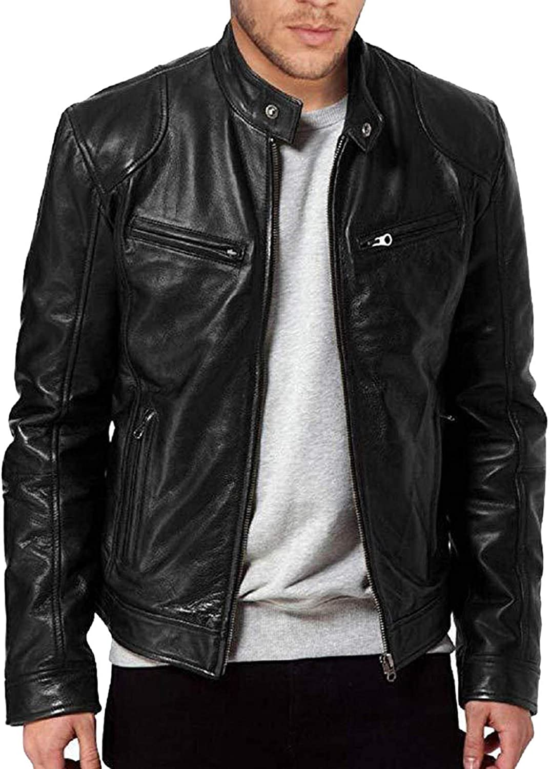 Men's Bomber Jacket Faux Leather Motorcycle Fashion Sportswear Casual Military Tactical Outerwear Jacket for Men