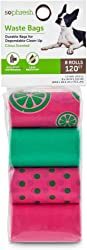 SO PHRESH Pink and Green Citrus-Print Dog Waste Bags