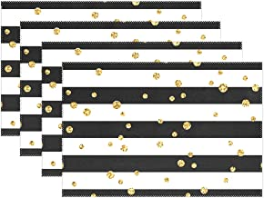 alaza Cooper Girl Gold Polka Dot Stripe Placemat Heat Resistant Washable Mat 12x18 Inch for Kitchen Dining Table