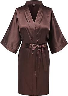 Joy Bridalc Women s Satin Short Kimono Bridemaid Robe Bathrobe for Wedding  Party 29ae4c4b4
